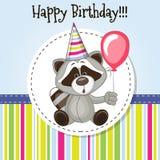 Raccoon with balloon Stock Photo