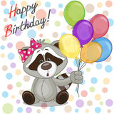 Raccoon with balloons Royalty Free Stock Photography