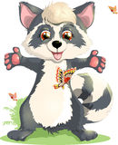 Raccoon. Beautiful raccoon, who plays with butterflies, standing on hind legs vector illustration