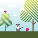 Raccoon, Birds and trees Royalty Free Stock Photo