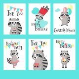 Raccoon birthday cards vector template set. Cute raccoon birthday cards. Happy birthday greeting card, invitation vector templates for kids with funny raccoons stock illustration
