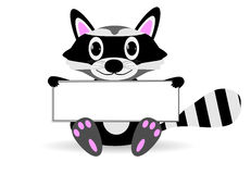 Raccoon with blank sign. Royalty Free Stock Photography