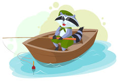 Raccoon in boat fishing. Scout fisherman Stock Photos