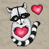 Raccoon carrying a heart. Royalty Free Stock Image