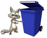 Raccoon cartoon character with dustbin Stock Photography