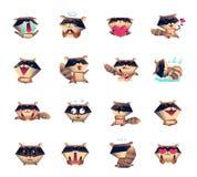 Raccoon Cartoon Character Icons Big Set. Raccoon animation cartoon character mood icons big set collection with sleepy love happy surprised symbols isolated Stock Image