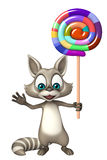 Raccoon cartoon character with lollypop Royalty Free Stock Photo