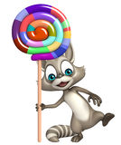 Raccoon cartoon character with lollypop Stock Photos