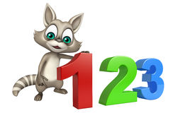 Raccoon cartoon character with 123 sign. 3d rendered illustration of Raccoon cartoon character with 123 sign stock illustration