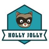 Raccoon cartoon icon. Merry Christmas. vector graphic Royalty Free Stock Photography