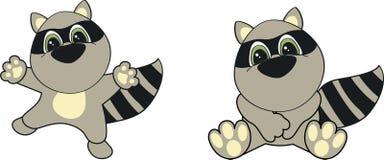 Raccoon cartoon set. In format royalty free illustration
