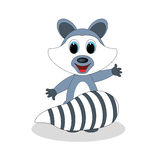 Raccoon cartoon waving. Stands on a white background Royalty Free Stock Images