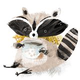 Raccoon with a cup of tea vector illustration