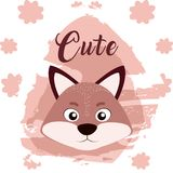 Raccoon cute animal cartoon. Raccoon cute cartoon on white and pink colors with floral background vector illustration Stock Photography