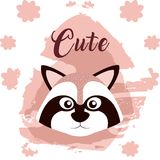 Raccoon cute animal cartoon. Raccoon cute cartoon on white and pink colors with floral background vector illustration Royalty Free Stock Photo