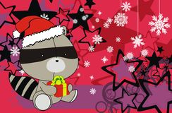 Raccoon cute cartoon xmas claus costume background Stock Photography