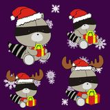 Raccoon cute cartoon xmas claus costume set Royalty Free Stock Image
