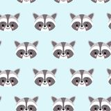 Raccoon cute seamless pattern, cartoon background, vector illustration royalty free illustration