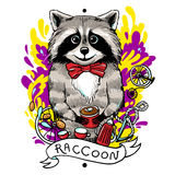 Raccoon drinks tea Royalty Free Stock Image