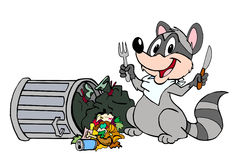 Raccoon Eating Garbage. Hand drawn cartoon of a raccoon feasting out of a trash can Royalty Free Stock Photo