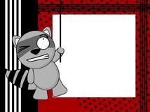 Raccoon emotion frame postal Royalty Free Stock Images