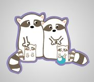 Raccoon family Royalty Free Stock Images
