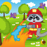 Raccoon firefighter extinguishes fire in forest. Vector illustration, eps Royalty Free Stock Photo