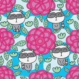 Raccoon flower line drawing seamless pattern Stock Image