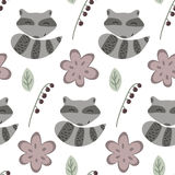 Raccoon and flowers pattern. Hand drawn seamless pattern with cartoon raccoons, flowers and berries Stock Photo
