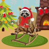 Raccoon in a funny Santa`s red cap. Christmas and New Year card. Vector illustration royalty free illustration