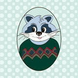 Raccoon in green jersey. Picture for clothes Stock Photos