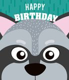 Raccoon Happy birthday card. Raccoon cartoon on happy birthday card vector illustration graphic design Royalty Free Stock Photography