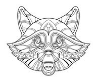 Raccoon head coloring page Stock Images