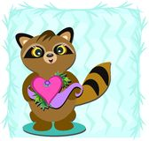 Raccoon with Heart Royalty Free Stock Image