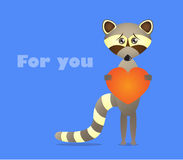 Raccoon with heart Stock Photography