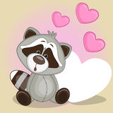Raccoon with hearts Stock Image
