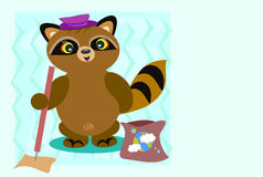 Raccoon Helps Clean the Earth Royalty Free Stock Photography