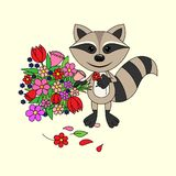 Raccoon holding a bouquet royalty free illustration