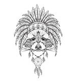 Raccoon in Indian roach. Indian feather headdress of eagle. Hand drawn vector illustration Stock Images