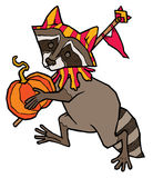 Raccoon in jester costume carries a pumpkin Stock Photo