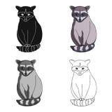 raccoon Les animaux choisissent l'icône en Web d'illustration d'actions de symbole de vecteur de style de bande dessinée Images stock