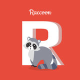 Raccoon with Letter R . ABC, Alphabet. Raccoon with letter R  on red. Racoon, North American raccoon, northern raccoon and colloquially coon, medium-sized Stock Photo