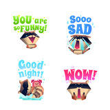 Raccoon Mood 4 Cartoon Icons Composition. Funny raccoon fictional cartoon character 4 icons composition in funny sad and sleepy mood isolated vector illustration Royalty Free Stock Photos