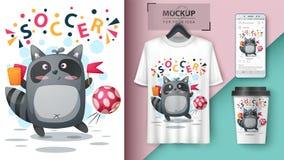 Raccoon play football, soccer - mockup for your idea