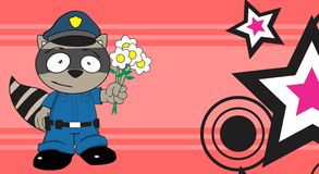 Raccoon police uniform background flowers Royalty Free Stock Photo