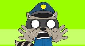 Raccoon police uniform background scream Stock Photo