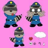 Raccoon police uniform expression set Stock Image
