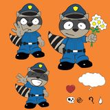 Raccoon police uniform expression set2 Royalty Free Stock Image