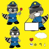 Raccoon police uniform expression set3 Royalty Free Stock Photos