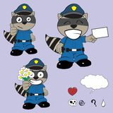 Raccoon police uniform expression set4 Royalty Free Stock Photography